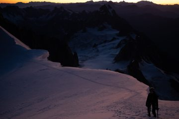 Just below the final snow ramp to the summit of Mont Blanc in fine September conditions.