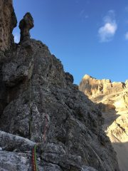 The view to the top of Southeast Arete. Tofana di Rozes