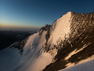The Lenspitze at dawn from the Nadelhorn normal route