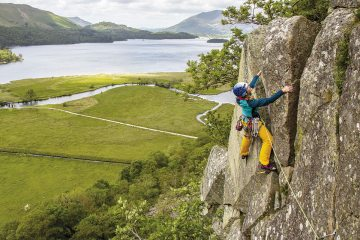 Charlotte Macdonald on Donkey's Ears (HS) at Shepherd's Crag (from Lake District Climbs Rockfax).