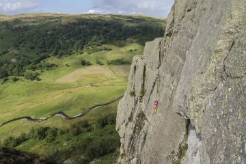 Charlotte Macdonald on Kennel Wall (S) at Gouther Crag (from Lake District Climbs Rockfax).