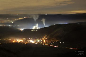 Hope cement works and castleton from the summit of Mam tor in the peak district