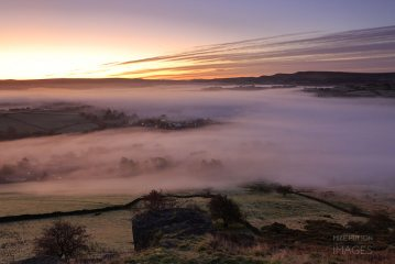 Morning fog over the lower slopes of South Head, Kinder