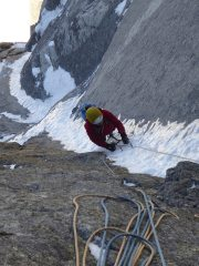 Dave racing up a classic narrow goulotte on the sixth pitch of Birthright