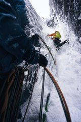Carl Nystedt climbing the Minus 1 Gully crux during the Scottish International Winter Meet, 236 kb