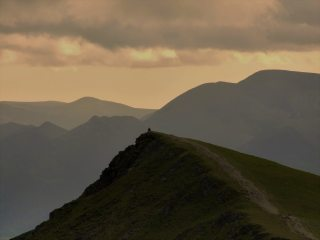 A lone hiker taking a moment at Blencathra., 366 kb