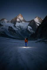 Ben Rouse making an early start on the Zinalrothorn, photographed here on the Glacier de Mountet, 480 kb