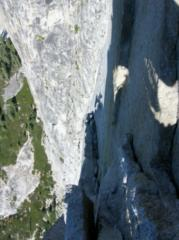 looking down pitch 16 on the Regular route, Half Dome, Yosemite