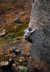 Mark Rankine climbing Cognitive Dissonance on Curbar Edge, 707 kb