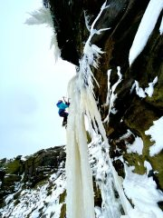 Dylan (aged 12) on the Kinder Downfall a couple of weeks back top roping a rare ice pillar., 341 kb