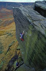 Sam Whittaker making the first ascent of Appointment with Death, Wimberry