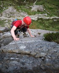 Alasdair Cavaye climbing Ordinary Route at Idwal Slabs in unusually dry conditions., 393 kb