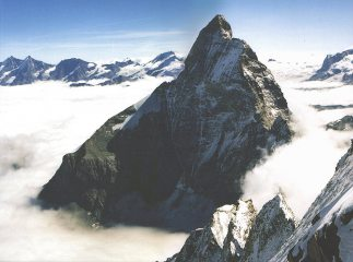 The Matterhorn's West face from the summit of Dent d'Herens.