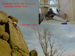 Kevin Thaw before and after his onsight attempt on Obsession Fatale (E8 6c), Roaches Lower Tier