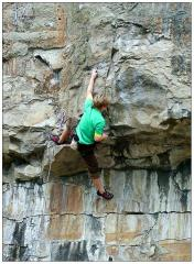 Pete Scott on Today Forever, 7a+, Dancing Ledge.