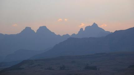 Cathedral Peak (far right), Drakensberg, SA. at sundown after my ascent.
