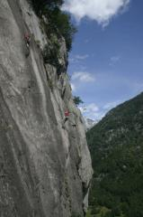 Climbers on the same crag oppisite the Sasso Remenno campsite that i can't remember the name of!