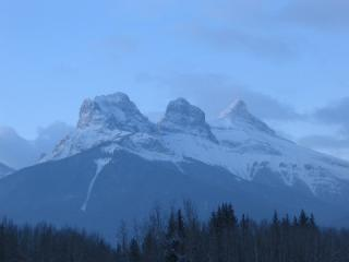 The Three Sisters from ACC Hut Canmore.