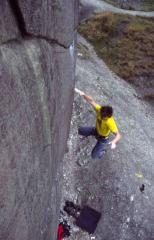 Falling off The Devil is in the Details (E7 7a) at Black Rocks