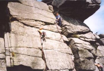 Jackie on Inaccessible Crack (VS 4c), Stanage High Neb