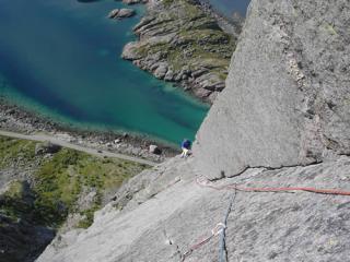 Looking down Slanting Corner Pitch on Westpillaren, Presten, Lofoten, Norway