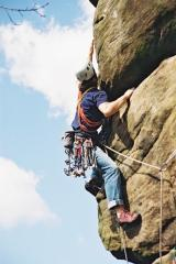 What no jug? Mick B on Moyers Buttress.