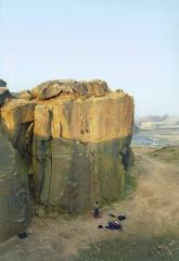 Dom battling out on the Crux of Napoleon in Ilkley Quarry
