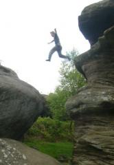 Marc C leaping from The Dancing Bear, Brimham