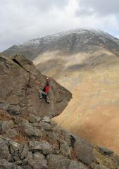 Tim Lofthouse on the Stirrup Boulders in Wasdale, the Lakes.
