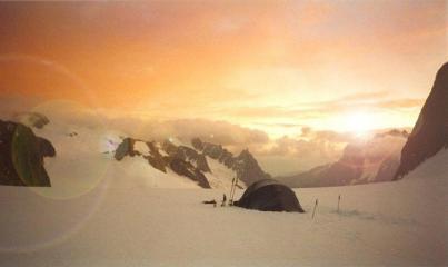 Sunset on Glacier du Geant (base of Tour Ronde)