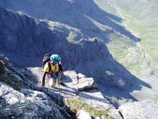 Nigel Holmes nearing the top of N.E. Butress after minus 1