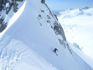Skiing off Tusk