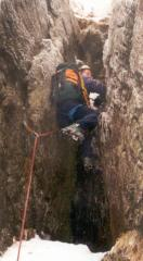 Deepdale in the Lakes: Pendulum Gully second pitch in typical condition!