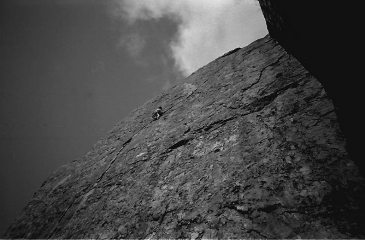 James Dunlop high on Left Wall