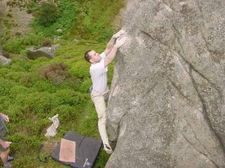 Steve Roberts on Hang The Boss (6b), Crookstones, Yorkshire