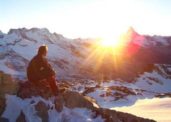 Sunset behind the Matterhorn - Bivouac on the Rimpfischhorn.