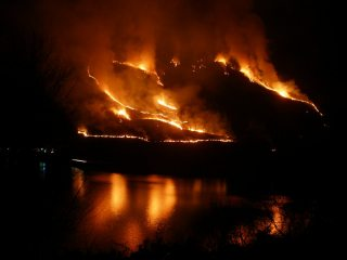 Hill fire above Loch Leven