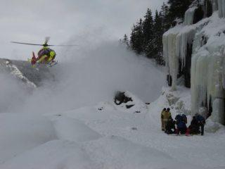 Helicopter rescue at Krokan, Rjukan