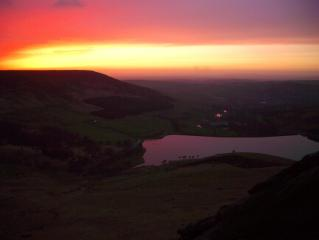 Sunset towards Oldham from Dovestone Moss, Chew Valley