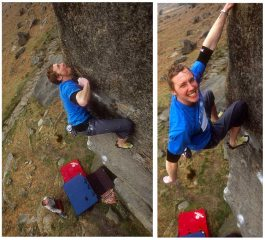 Ben Cossey on Careless Torque, (Font 8a/8a+....or E6/7 7a), Stanage