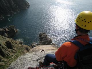 Looking down the Devils Slide(S) Lundy Island May 5th 2007. Dave M Climbing, Adrian Belaying