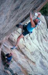 Alan Lester making the first free ascent of Anaconda, Lumpy Ridge, Colorado.