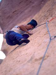 Marc Le Menestrel making the second? ascent of Just Do It (8c), Smith Rock, Oregon.