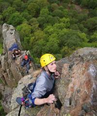 Mhairi Cameron on Troutdale Pinnacle, Black Crag,Borrowdale