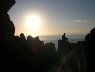 Chris relaxing at the top of Commando / Bosigran Ridge.