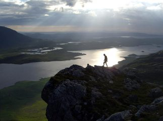 Evening view from the top of Carnmore Crag after finishing Fionn Buttress