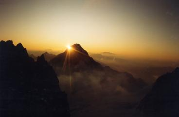 Dawn over the Grandes Jorasses from the Frontier Ridge