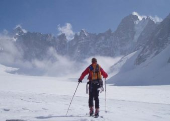 Solo ski tour Argentierre basin (self timer shot)