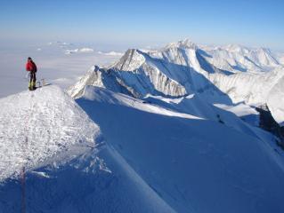 Steve Chaplin on the way down the north ridge of Mt Gardner, Sentinel Range, Antarctica. December 21st 2005.