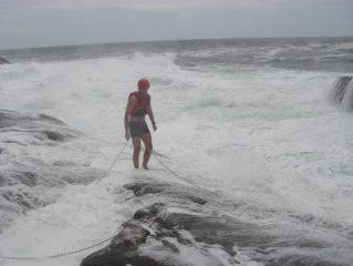 Andy braving the swim across to stoer